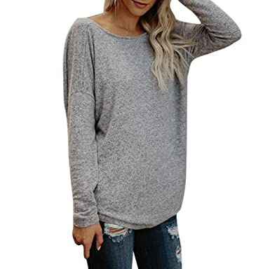 3c76e804adf4f MORCHAN Femmes Sexy Solid Backless lâche Manches Longues Tops Blouse (FR -40 CN