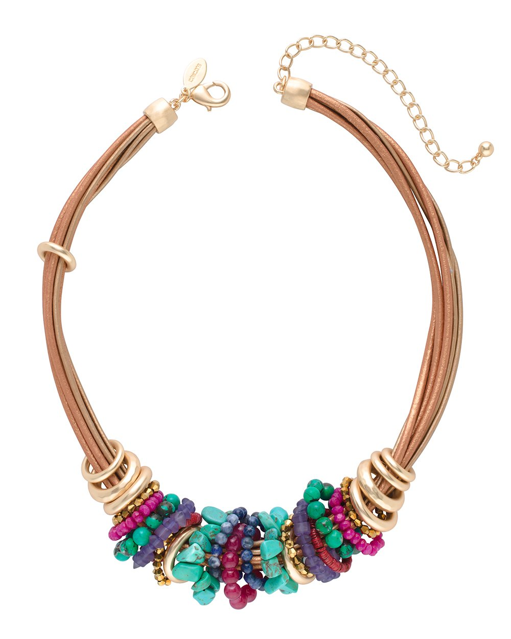 Chico's Women's Multi-Colored Beaded Short Collar Necklace