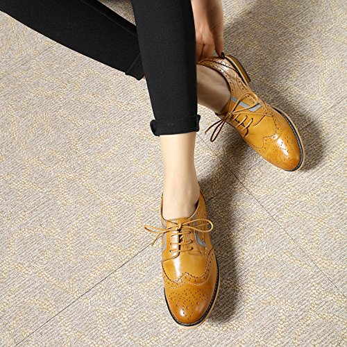 Pictures of Mona Flying Women's Leather Perforated Lace-up Oxfords Shoes for Women Wingtip Multicolor Brougue Shoes 4