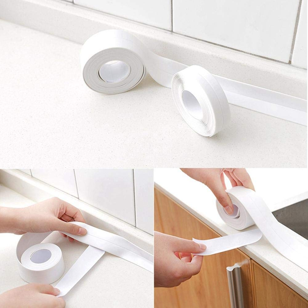 WooyMoo Caulk Strip PE Self Adhesive Sealing Tape Waterproof Flexible Wall Sealing Strip for Kitchen Bathroom Tub Shower Floor Wall,38mm