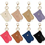 8 Pieces Leather Travel Bottle Keychain Holder Set- 8 Colors Leather Key Chain Holder with 8 Pieces 30ml Clear…