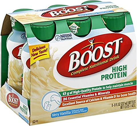 BOOST High Protein Nutritional Energy Drinks, Vanilla 8 oz, 6 ea (Pack of 10)