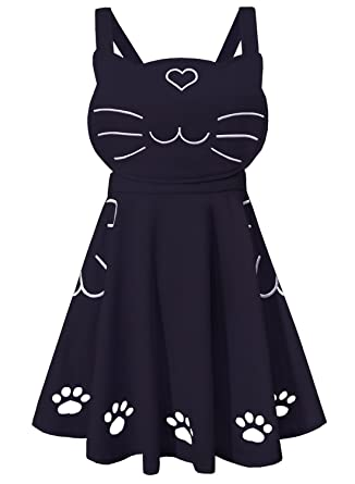 49ec467a2eb futurino Women s Ajustable Suspender Cat Embroidery Cute Paw Hollow Out  Lolita Overall Dress with Pockets