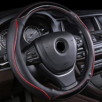 Black /& Pink Universal Fit Leather Car Steering Wheel Cover 37-39CM//15 Anti Slip Breathable Protector Heavy Duty Car Accessory Year Round Use for Truck SUV
