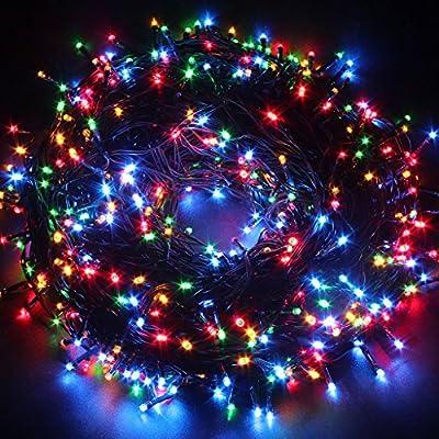 Excelvan Safe 24V 8 Modes 500 LEDs 100m/328ft Christmas Lights Fairy Lights DC Transformer with Green String for Indoor Outdoor Party Wedding Decoration (Multi-color)
