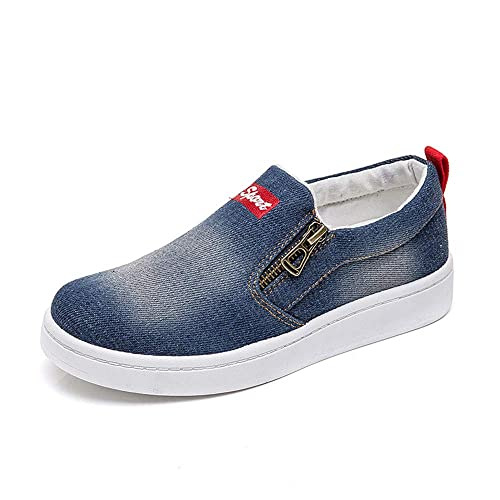 32721b42 Another Summer Women's Fashion Denim Canvas Shoes Zipper Slip-on Casual  Sneakers Dark Blue