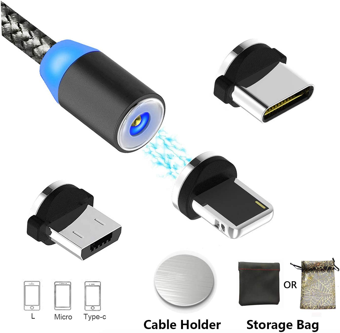3 in 1 Multi Light Type C Cable Micro USB Data Sync Fast Charging Charger