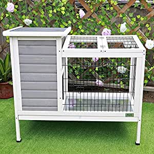 """Petsfit 36""""Lx20""""Wx30""""H Rabbit Hutch Grey,Guinea Pigs Cage,Bunny Hutch Wood for Indoor Use"""