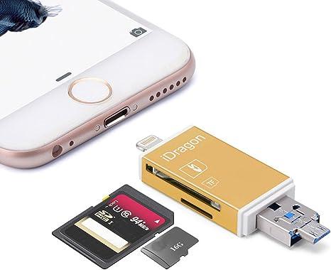 utoptech cámara Lightning SD lector de tarjetas, idragon 3 en 1 OTG USB SDHC Micro SD TF tarjeta de memoria ...