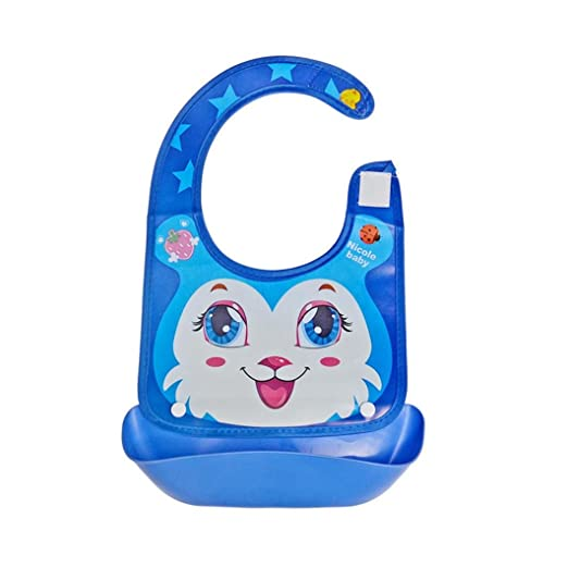 Waterproof Comfortable Soft Baby Bib Easily Wipes Clean Silicone Feeding Bibs L