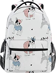French Bulldog Paris Backpack School Bag Travel Daypack Rucksack for Students