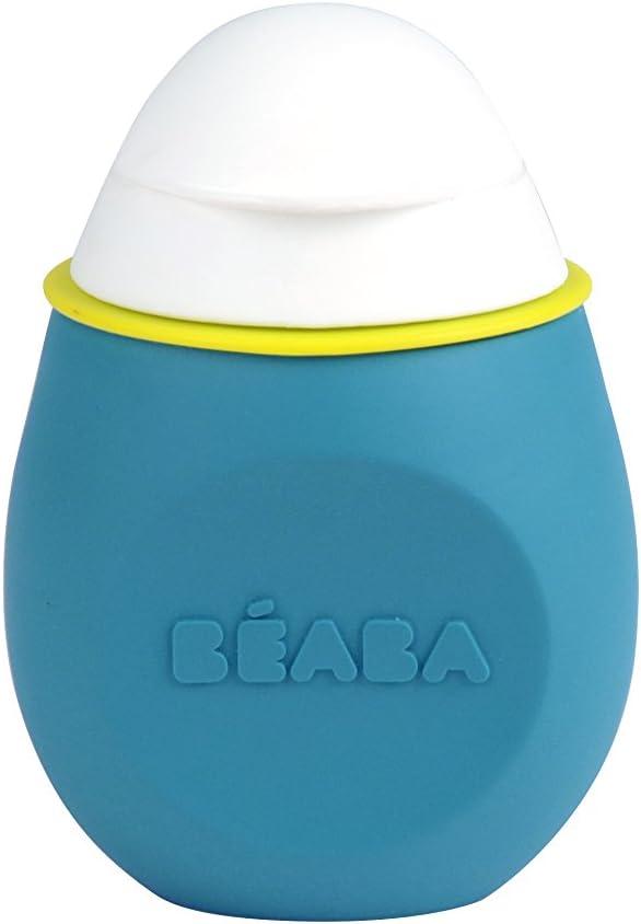 Béaba BabySqueez 912621 - Cantimplora de silicona flexible para bebe, Con 2 boquillas, Unisex, Color Azul, BPA, plomo y ftalato libre
