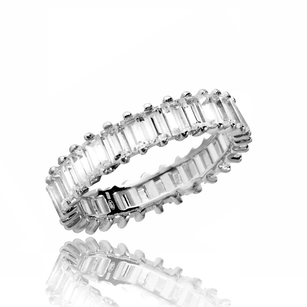 Sideways Baguette Clear Cubic Zirconia Eternity Band Ring Rhodium Plated Sterling Silver Size 9