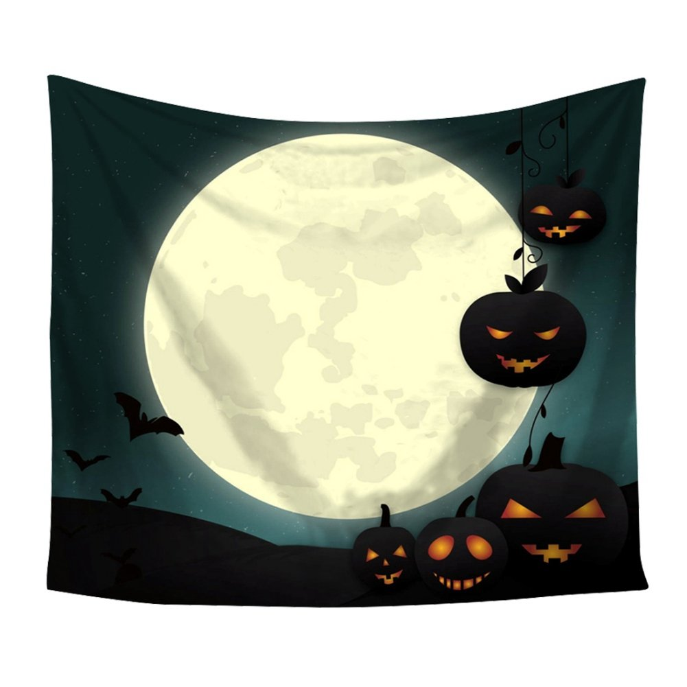 BOBORA Halloween Tapestry, Halloween Decorations Indoor Wall Hanging Scary Pumpkins Witches Spiders Ghosts Party Bedroom Decorative Tapstries BO-UK841-HW1082-2