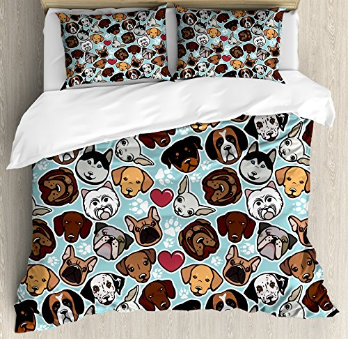Dog Lover Duvet Cover Set Queen Size by Ambesonne, Canine Breeds Bulldog Chihuahua Siberians and Retriever Love Heart Paw Prints, Decorative 3 Piece Bedding Set with 2 Pillow Shams, (Medium Dog Duvet)