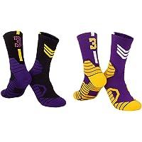 2 Pares de Calcetines de Baloncesto de élite, Calcetines Deportivos Lakers n. ° 3, Calcetines de fútbol para Mujeres…