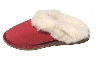 mules filles rouges fourrées peau de mouton - tannage naturel - 37 a74d6e144ef