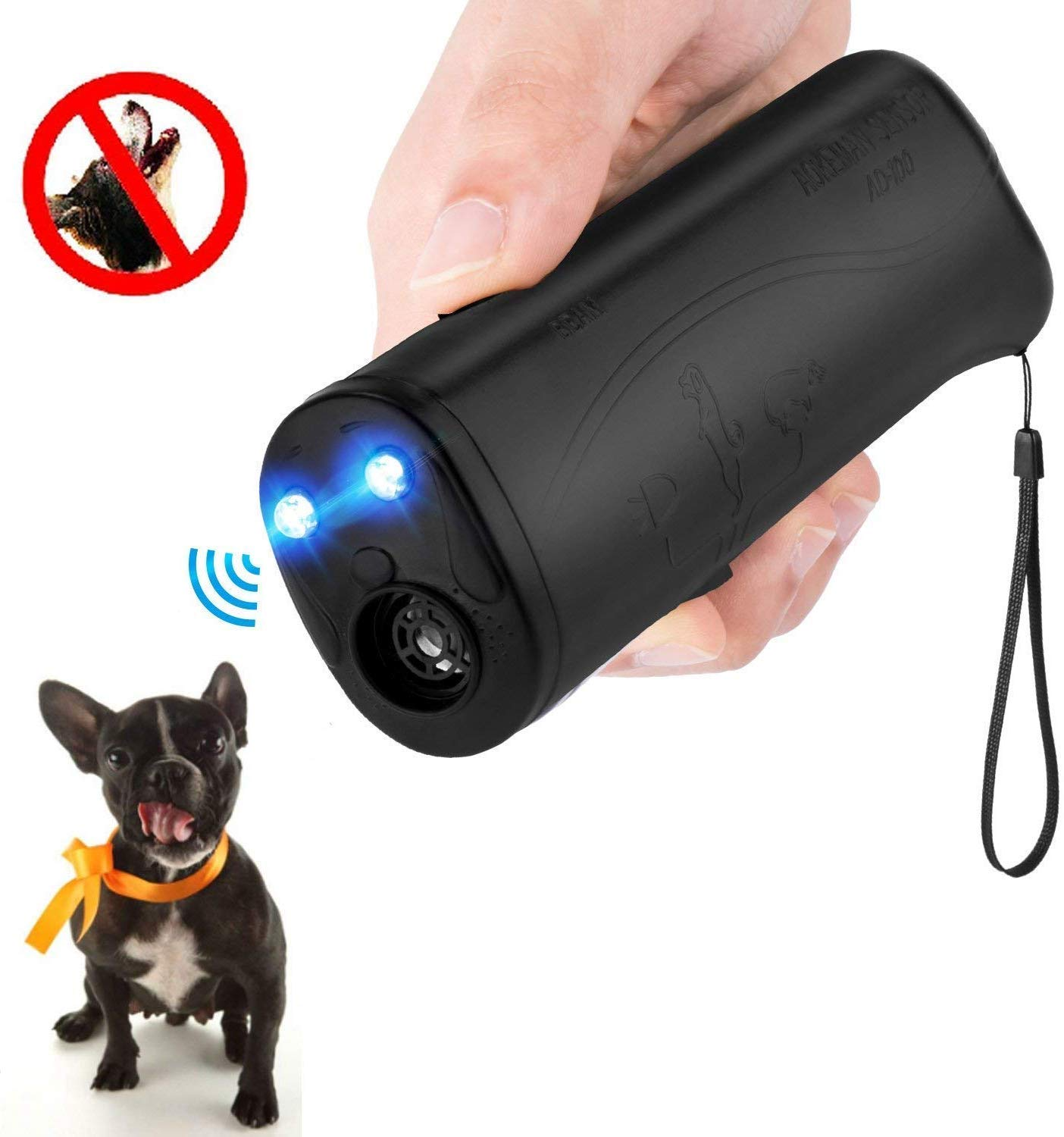 MEIREN Handheld Dog Repellent & Trainer, Anti Barking Device & Ultrasonic Dog Training Aid with Control Range of 30 Ft by MEIREN