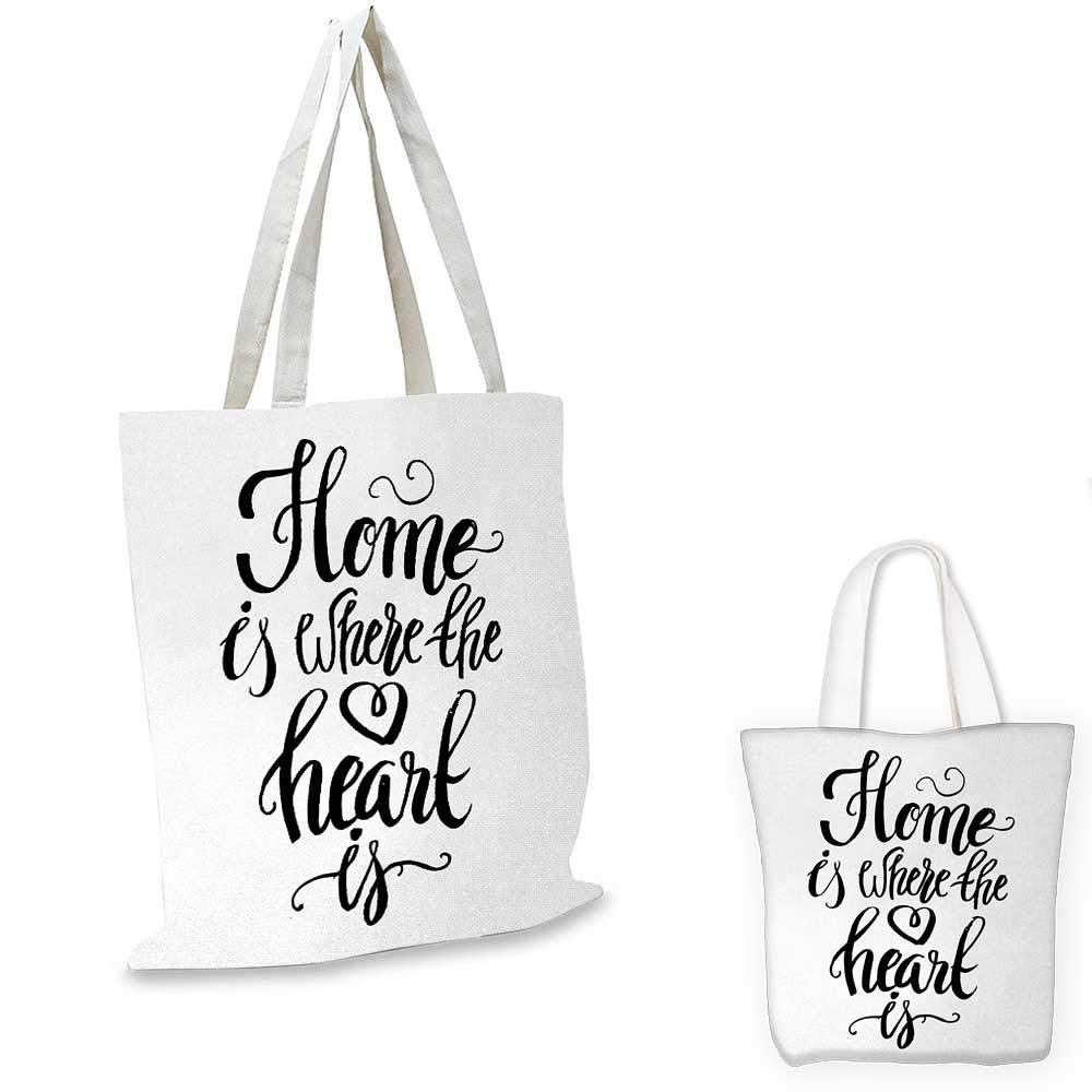 Home Sweet Home canvas messenger bag Home is Where the Heart is Quote Hand Written Style Monochrome Design canvas beach bag Black White 16x18-13