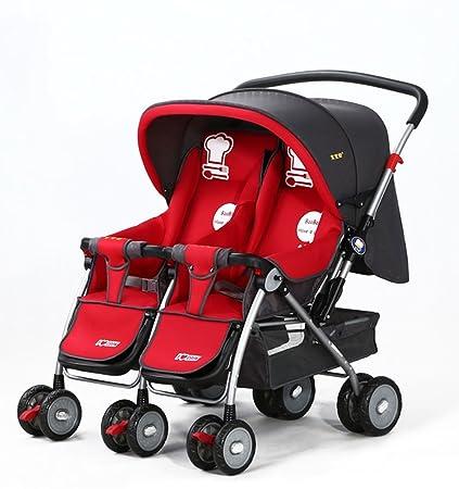 Qi Tai- Cochecito Plegable El Cochecito de bebé Gemelos Carro Plegable de Dos vías Puede