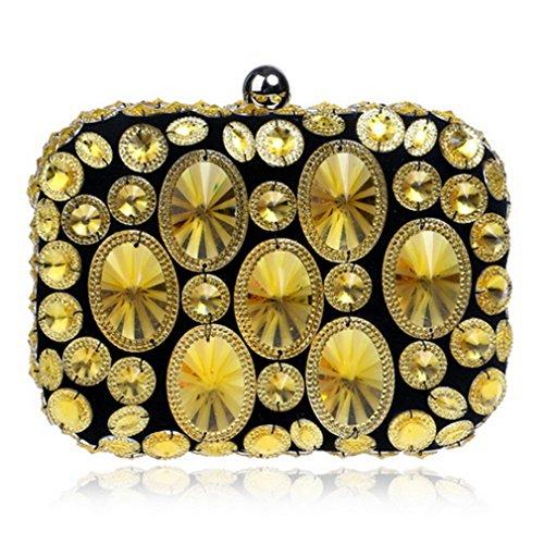 Lady Ym1131gold Borse metallo rosse a da strass Borsa frizione kaoling tracolla sera cena matrimonio ricamate catena in per perline vm8wOnN0