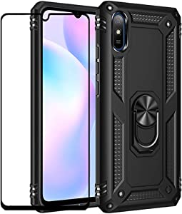 FLYME for Xiaomi Redmi 9A Case with Tempered Glass Screen Protector, Heavy Duty Dual Layer Shockproof Rugged Non-Slip Scratch-Resistant Cover,Black