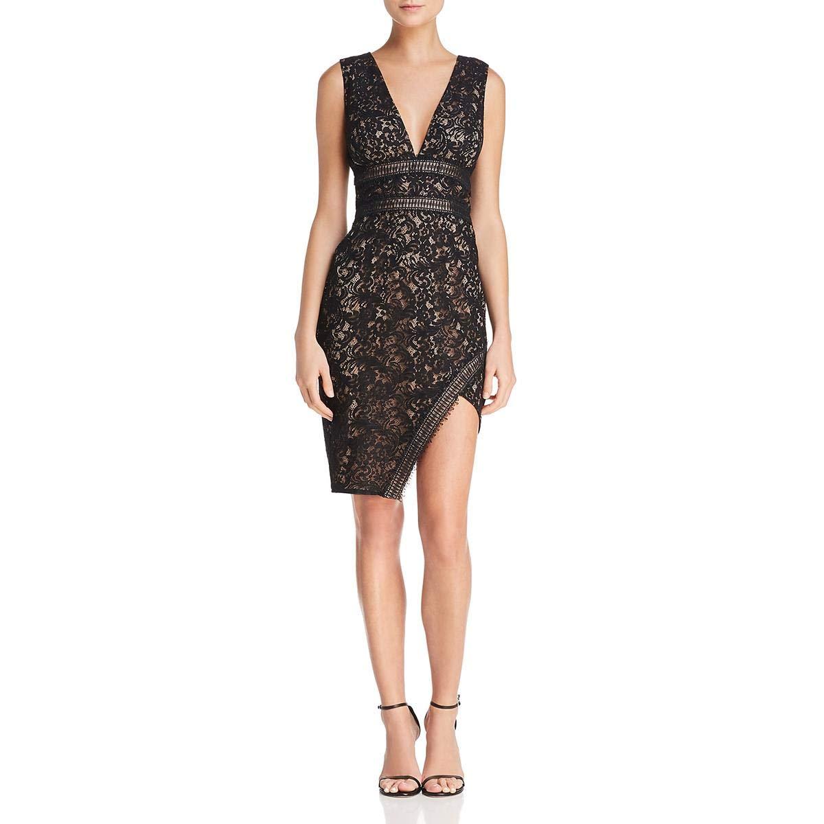 Black StyleStalker Womens Lace Mini Cocktail Dress