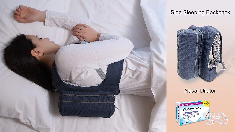 WoodyKnows Combinación de mochila de dormir lateral antirronquidos y dilatadores nasales(Busto<40