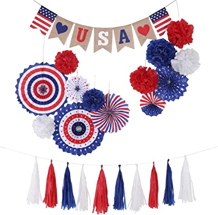 Amazon Com Patriotic Decorations Set Paper Fan Tassles Pom Pom Garland For Election 2020 4th Of July Veterans Day Party Independence Day Party Supplies Health Personal Care