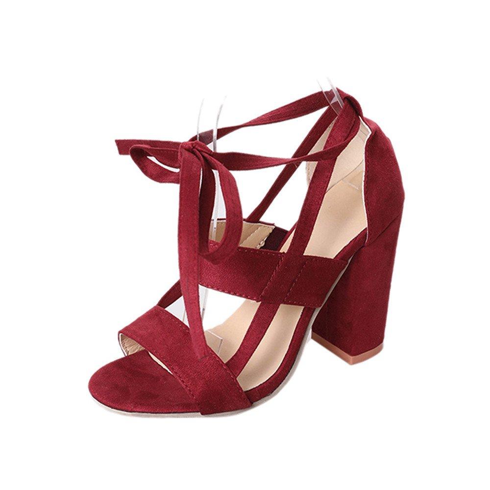 AOJIAN 2018 Women Party Open Toe Shoes Ankle High Heels Block Sandals (9, Wine)