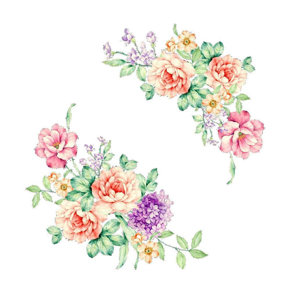 Yliquor Colorful Flowers 3D Wall Stickers Beautiful Peony Fridge Stickers Toilet Decorat Girls Boy Bedroom Kids Rooms Home Decor