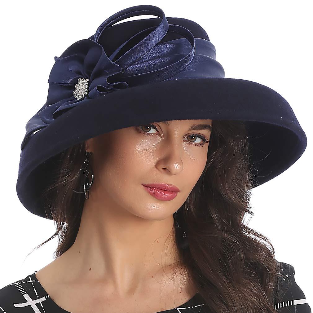 FORBUSITE Elegant Women Wool Felt Floral Trimmed Cloche Bucket Winter Church Hats (Blue)