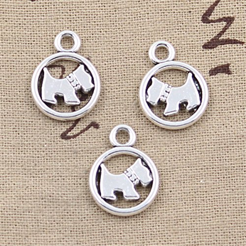 (20pcs Charms circle scotty dog Antique Silver Charms Pendants for Making Bracelet Necklace Jewelry Findings Jewelry Making Accessory 15mm )