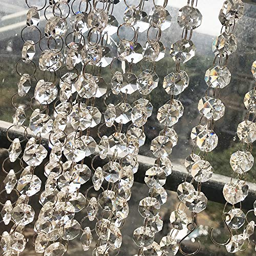 16.4 ft Clear Crystal Beads Chain,Crystal Rhinestone Close Bead Chain Sewing Craft Beaded Trim Chain Chandelier Bead Lamp Chain Like Beads for The Wedding Party Tree Garlands Decorations