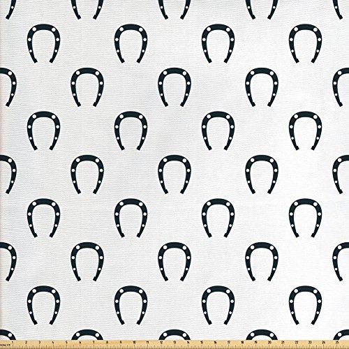 Ambesonne Horseshoe Fabric by The Yard, Horse Riding Racing Entertainment Speed Hobbies Running Competition Award Print, Decorative Fabric for Upholstery and Home Accents, Emerald (Emerald Horseshoe)