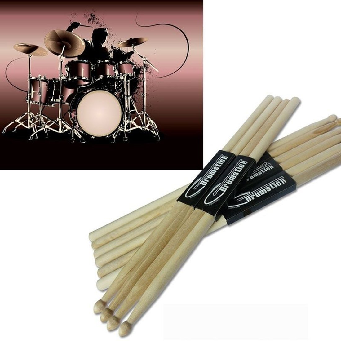 American Classic 7A Wood Drum Sticks, Jacksuper Music Band Maple Wood Drumsticks