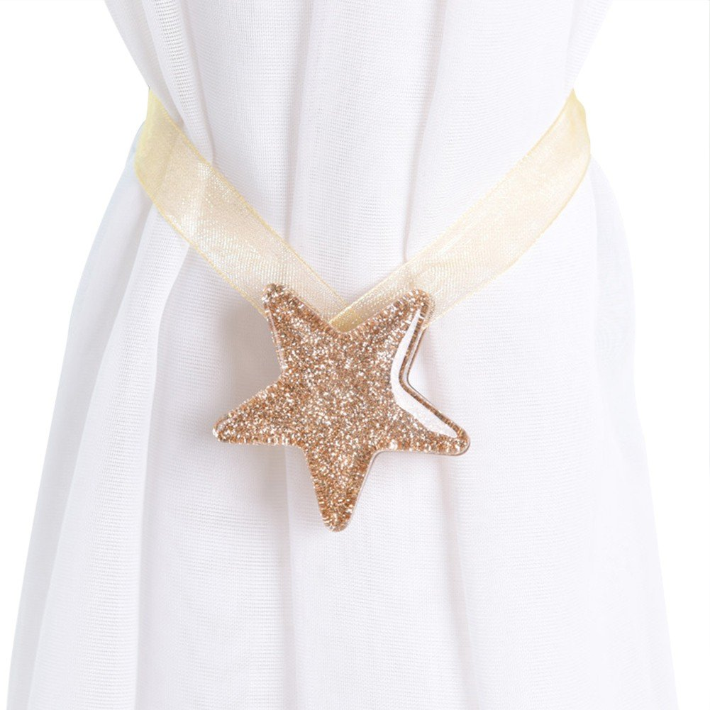 1pcs Window Curtain Tiebacks Lovely Star Shape Holdbacks Magnetic Curtain Clips Ofanyia