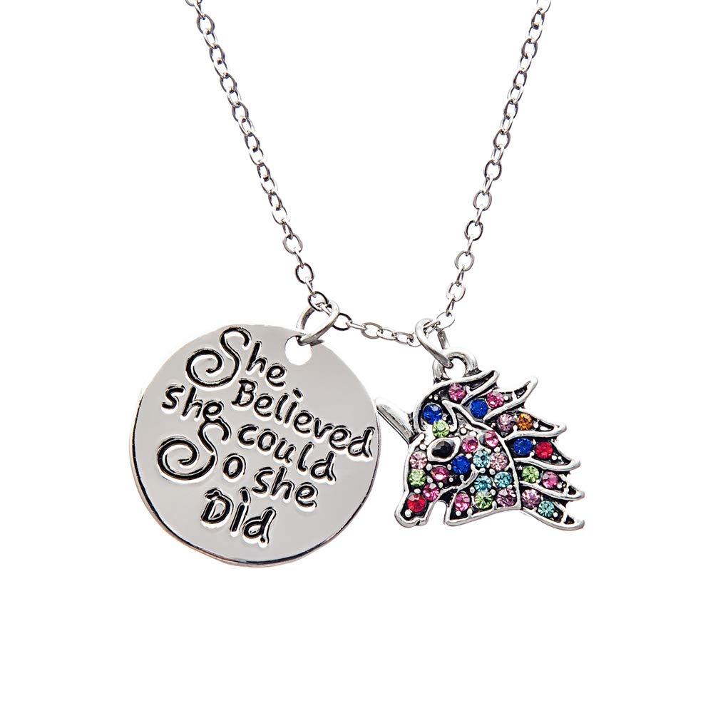 Infinity Collection Unicorn Charm Necklace, Girls Unicorn She Believed She Could So She Did Jewelry, For Girls