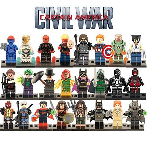 24pcs/lot Marvel Captain America civil war Minifigures Figures Toy The Avengers Super Heroes Justice League X-Men Compatible with (Super Heroes Avengers)