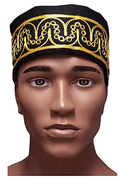 99f104791a0 Amazon.com  Dupsie s African Black Kufi Hat with Gold Embroidery  Clothing