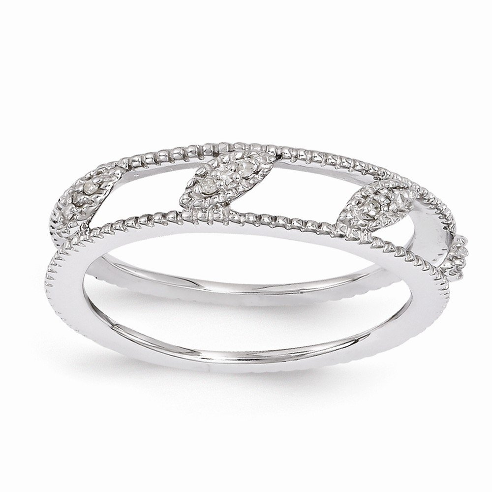 Sterling Silver Stackable Expressions Rhodium-plated Diamond Jacket Ring