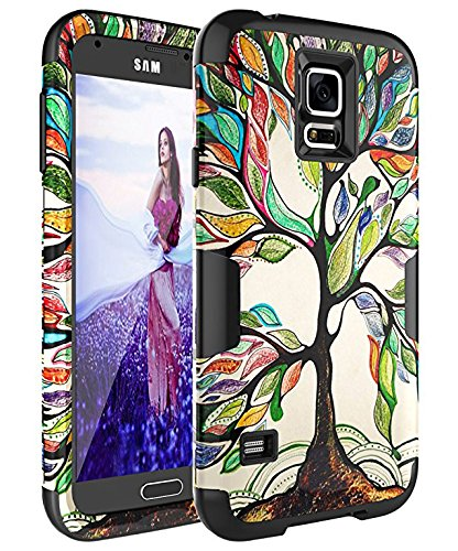 quality design 13186 d0138 SKYLMW Case for Galaxy S5,Galaxy S5 Case [Shock Resistant Series ] Hybrid  Rubber Cover for Galaxy S5 3in1 Hard Plastic +Soft Silicone, Tree Black