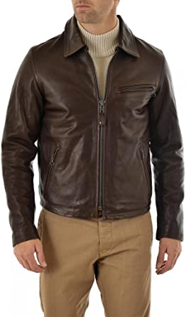 Azrah Traders Mens Lambskin Leather Bomber Biker Jacket