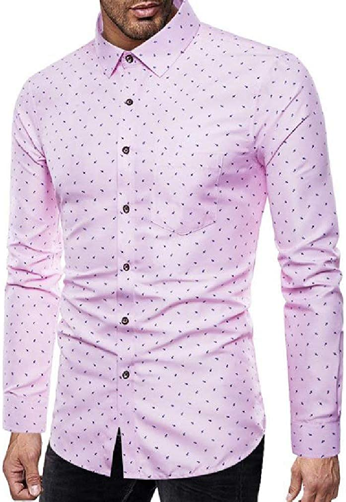 Tralounry Men Long-Sleeve Classic-Fit Printed Autumn Bussiness Shirts