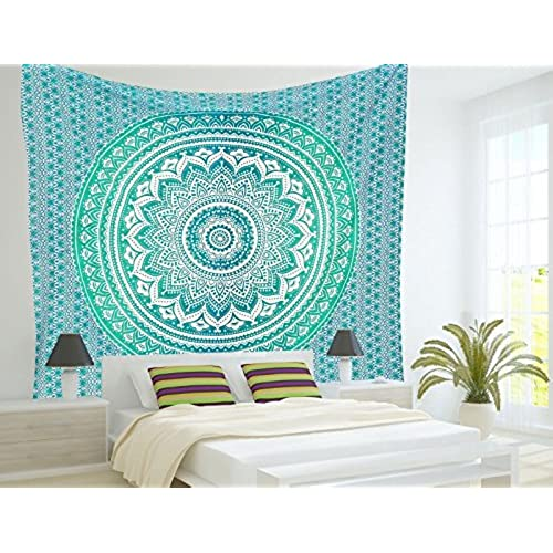 RawyalCrafts Green Ombre Tapestry,Indian Hippie Tapestry, Wall  Hanging,Bohemian Wall Hanging,Mandala Tapestry,New Age Tapestry,Gypsy  Tapestry By ...