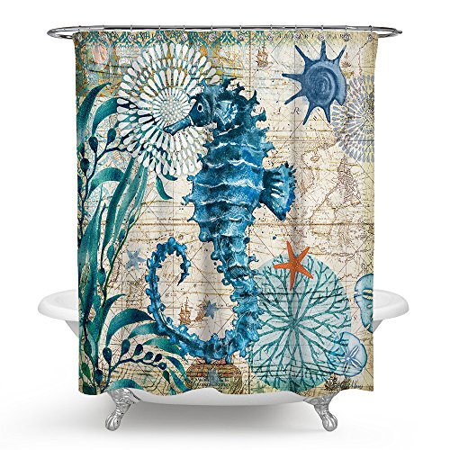 Econie Sea Horse Shower Curtains Ocean Animal Waterproof Polyester Blackout Draperies Window Solid Grommet with 12 Hooks for Bedroom Living Bathroom 71 x (Horse Bathroom Shower Curtain)