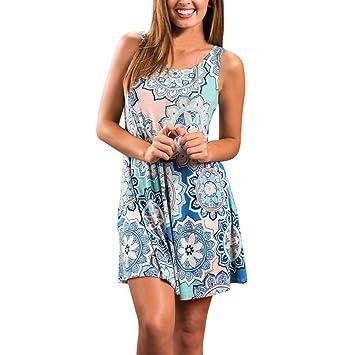 TAOtTAO Vestido floral para mujer, estilo vintage, estilo bohemio, ideal para la noche