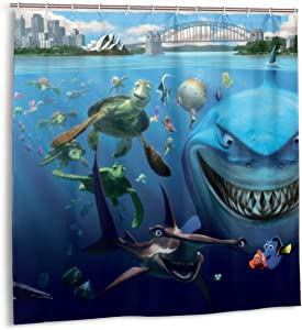 Airmark Shower Curtain for Bathroom Decor Curtains Set,Shark Ocean Turtle Tropical Animal Underwater Sea World Scene Cartoon Finding Nemo Fabric Bath Curtains with Hooks 72x72in