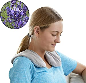 Carex Lavender Neck Wrap with Warm and Cold Therapy for Stress Relief - Microwavable Heating Pad for Neck and Shoulders, Gray Color