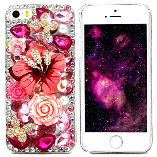 iPhone SE Case, iPhone 5S Case, iPhone 5 Case, Mavis's Diary 3D Handmade Bling Crystal Butterfly and Colorful Flowers Rhinestone Diamond with Hard Case Cover Pink Flower Rhinestone Butterfly (Iphone 5 Stone Case)